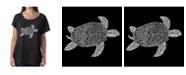 LA Pop Art Women's Dolman Cut Word Art Shirt - Turtle