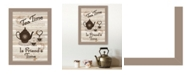 """Trendy Decor 4U Tea Time by Millwork Engineering, Ready to hang Framed Print, Taupe Frame, 10"""" x 14"""""""