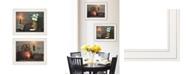 """Trendy Decor 4U White / Red baskets 2-Piece Vignette by Susie Boyer, White Frame, 19"""" x 15"""""""