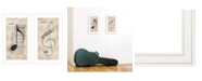 """Trendy Decor 4U Music Collection 2-Piece Vignette By Marla Rae, White Frame, 11"""" x 21"""""""