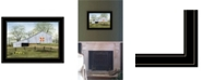 "Trendy Decor 4U Trendy Decor 4U Tulip Quilt Block Barn by Billy Jacobs, Ready to hang Framed Print, Black Frame, 19"" x 15"""