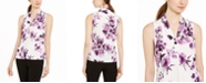 Calvin Klein Sleeveless Floral Pleated Top