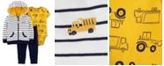 Carter's Baby Boys 3-Pc. Cotton Striped Hoodie, Construction-Print Bodysuit & Pants Set