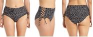 California Waves Juniors' Dot-Print Lace-Up High-Waist Bikini Bottoms, Created for Macy's