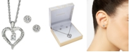"Charter Club Silver-Tone Crystal Dancing Heart Pendant Necklace & Stud Earrings Boxed Set, 17"" + 2"" extender, Created for Macy's"