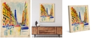 "Creative Gallery Colorful Rue De Paris 36"" x 24"" Canvas Wall Art Print"