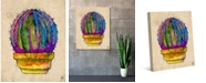"Creative Gallery Terra Cotta Rainbow Cactus Watercolor 36"" x 24"" Canvas Wall Art Print"