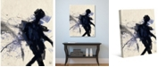 """Creative Gallery Shadow Figure with Indigo Blue Abstract 36"""" x 24"""" Canvas Wall Art Print"""