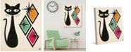 """Creative Gallery Retro Cat with Diamonds in Gold, Mint Pink 24"""" x 20"""" Canvas Wall Art Print"""