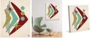 "Creative Gallery Retro Boomerang Fish in Mint, Olive Rust 20"" x 16"" Canvas Wall Art Print"