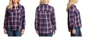 Jessica Simpson Trendy Plus Size Petunia Button-Down Plaid Shirt