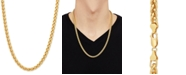 """Macy's Wheat Link 24"""" Chain Necklace in 18k Gold-Plated Sterling Silver"""