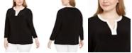Anne Klein Plus Size Contrast Trim Top