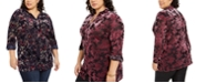NY Collection Plus Size Velvet Burnout Top