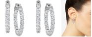 "Macy's Certified Diamond Small Graduated In & Out Hoop Earrings (3-1/5 ct. t.w.) in 14k White Gold, 1"""
