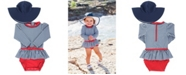 RuffleButts Baby Girl's Skirted Swimsuit Swim Hat Set