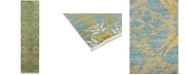 """Timeless Rug Designs CLOSEOUT! One of a Kind OOAK3364 Teal 3'3"""" x 12'5"""" Runner Rug"""