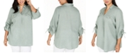 Charter Club Plus Size Linen Collared Top, Created for Macy's