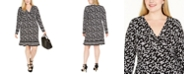Michael Kors Plus Size Ruched-Bodice Border-Print Dress