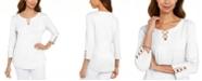 Karen Scott Cotton Lace-Up T-Shirt, Created for Macy's