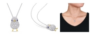 Macy's Created Blue and White Sapphire (2 3/4 ct. t.w.) Chick Bird Necklace in 18k Two-Tone Over Sterling Silver
