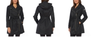 Vince Camuto Hooded Water-Resistant Belted Raincoat