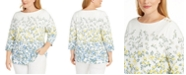 Charter Club Plus Size Floral-Print 3/4-Sleeve Top, Created for Macy's