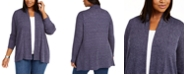 NY Collection Plus Size Marled-Knit Cardigan