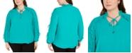 Calvin Klein Plus Size Ruffle-Sleeve Tie-Neck Blouse
