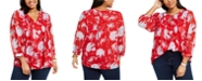 Tommy Hilfiger Plus Size Pintuck Floral-Print Top