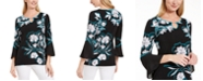 JM Collection Printed Bell-Sleeve Keyhole Top, Created For Macy's