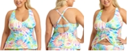 California Waves Trendy Plus Size Tie-Dye Printed Adjustable Cinch Front Tankini Top, Created for Macy's