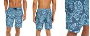 "Club Room Men's Stripe Leaf-Print 7"" Board Shorts, Created for Macy's"