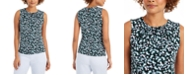 Calvin Klein Petite Floral-Print Pleat-Neck Top