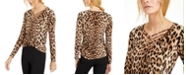 INC International Concepts INC Petite Leopard-Print Strappy-Neck Top, Created For Macy's