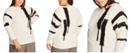 1.STATE Trendy Plus Size Crewneck Printed Sweater