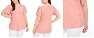 Belldini Plus Size Swiss-Dot Split-Sleeve Crossover Top
