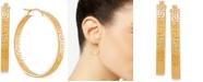 Italian Gold Medium Greek Key Hoop Earrings in 14k Gold