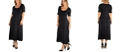 24seven Comfort Apparel Casual Plus Size Maxi Dress with Sleeves