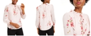 Bar III Floral-Print Ruched Blouse, Created for Macy's