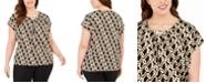 Adrienne Vittadini Plus Size Cap-Sleeve Top