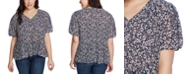 1.STATE Trendy Plus Size Wildflower Bouquet Pleated Top