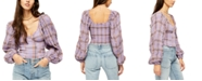 Free People Cherry Bomb Madrass Plaid Top