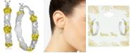 "Kona Bay Small Filigree and Flower Hoop Earrings in Fine Silver-Plate & Gold-Plate, 1"""