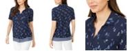 Karen Scott Plus Size Cotton Sailboat-Print Shirt, Created for Macy's