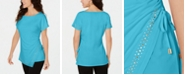 JM Collection Petite Studded Drawstring Top, Created for Macy's
