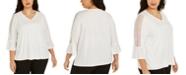 Kasper Plus Size Lace-Trim Blouse