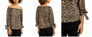 Michael Kors Leopard-Print Off-The-Shoulder Top