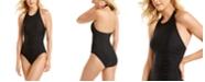 Calvin Klein Shirred High-Neck Halter One-Piece Swimsuit