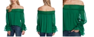 CeCe Ruffled Bell-Sleeve Off-The-Shoulder Top